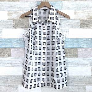 Textured Linen Shirt Sleeveless White Black Worth